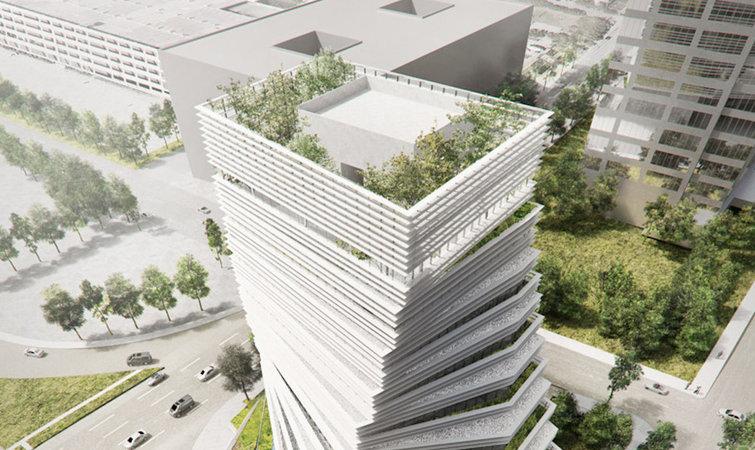 30 年前,劳力士携手瑞士房地产开发商哈伍德国际(Harwood International)在美国达拉斯造了一座名为 1984 的住宅楼。 30 年后的今天,哈伍德国际在达拉斯的版图日趋扩大。最近,他们再度与劳力士合作,并邀请了日本建筑大师隈研吾,在 1984 大楼旁建造新的劳力士办公大楼。 扭曲的塔身是由一系列逐渐交错旋转的楼层创建而成,它不仅赋予了整体建筑一个标志性的独特外观,亦允许使用者在每个楼层露出的部分开发梯田种植。除此之外,隈研吾还在建筑顶部设计了屋顶花园,种满了绿树。远远看上去,自然与建筑