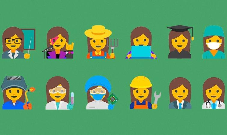 医疗界,工厂里和农场上工作的女性形象的 emoji 表情.图片