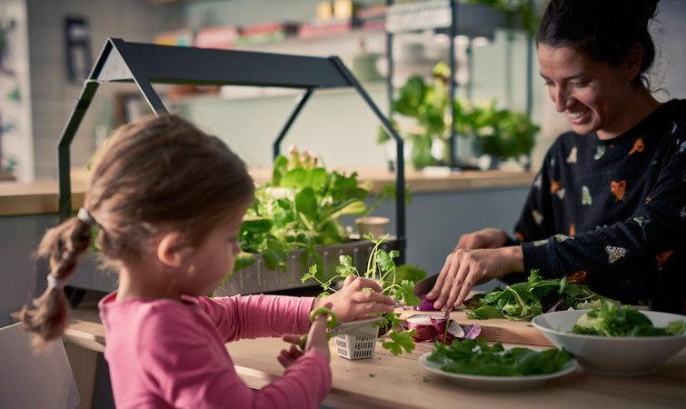 本周瑞典家居巨头宜家推出了新的室内园艺产品 Krydda/Vxer 系列。相信不少妈妈都喜欢在家种种草养养花,送给妈妈这样一款利器,效果目测会远胜于买一束只能存活一周的鲜花吧。 Krydda/Vxer 系列无需土壤和阳光便可种植植物和蔬菜,支撑其生命力的是水培系统和低能耗的 LED 灯光照,当然也可以放置在窗台上利用自然光照,重要的点在于它可以帮助你实现在任何地方任何时间进行种植。用宜家高级产品开发人员 Ronnie Runesson 的话说,不管你生活在瑞典北部的冬季,还是住在新加坡、中国或是北美,都