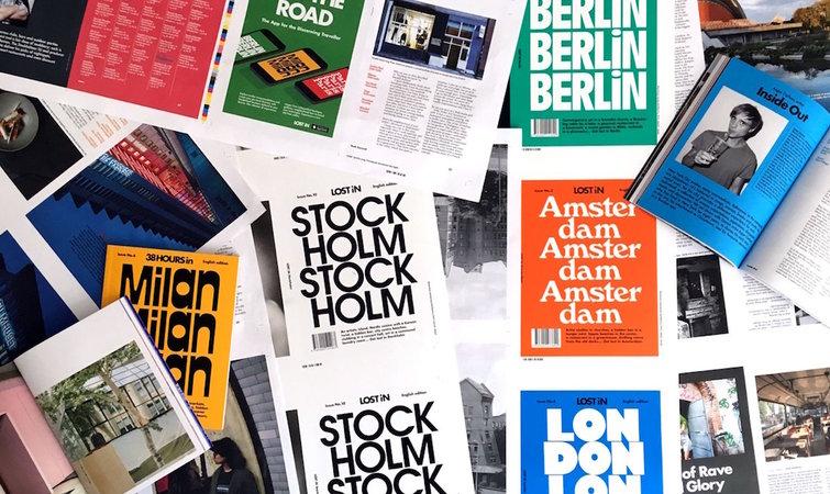 用城市的英文字母铺满整个杂志封面