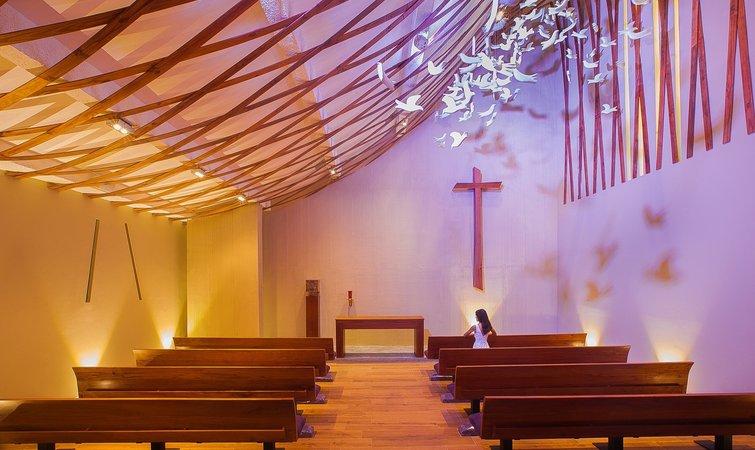 holy spirit 的俯视图 教堂的不规则曲面和鸽子展翅时翅膀下端的弧度