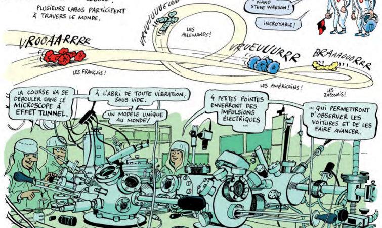 比赛将由独特的四探针显微镜实况转播。CNRS 的这台设备是世界上唯一一台允许四名不同的实验人员在同一平台同时操作的显微镜。这四个探针不仅承担了观测任务,同时也要给参赛的纳米车施加光电脉冲,让它们获得前进的动力。 参赛的四强将从六支队伍中产生,赛车形态各异,闪耀着奇思妙想与科学实践的光辉。 例如图卢兹第三大学的 NanoMobile Club 队(纳米车俱乐部)名为 The Green Buggy(绿色婴儿车)的赛车,车身巨大,由许多芳环骨架构成,轮子则是四个三蝶烯结构,易于旋转。
