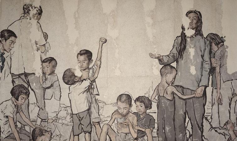 1940 年,蒋兆和为自己的画册作序时提到了这样的话:知我者不多,爱我者尤少,识吾画者皆天下之穷人,唯我所同情者,乃道旁之饿殍。 1985 年蒋兆和在自己的书中又写到这样一句话,把他画画的特点说得非常清楚,艺术之道,为促进人类之精神文明,申正义,重感情,共同向上,方不愧为万物之灵,集群众之智慧而创造日益美好的前境,这是我在艺途中的主导思想。