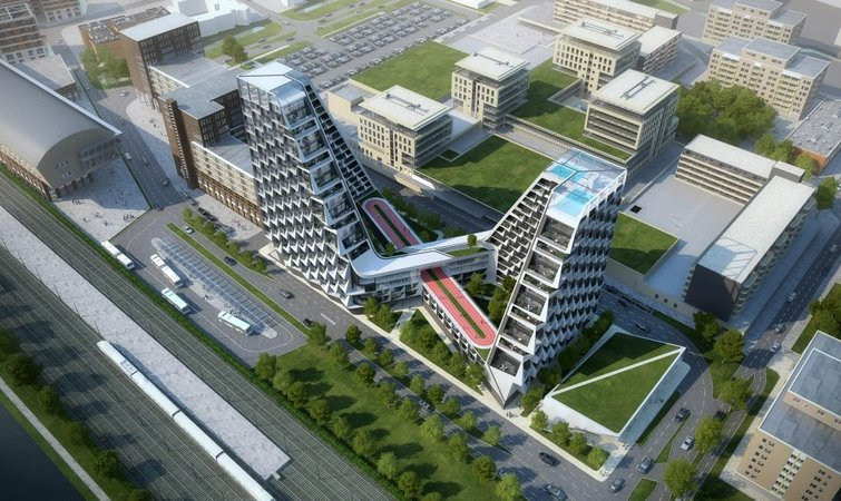 宽敞的楼中绿地和跑道,这可能是荷兰最佳住宅楼设计