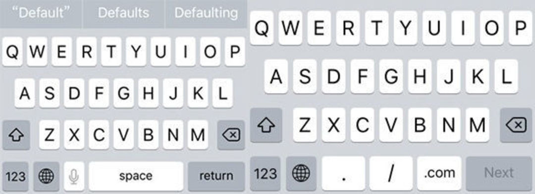 iOS 系统自带的默认键盘和输入 URL 时的键盘