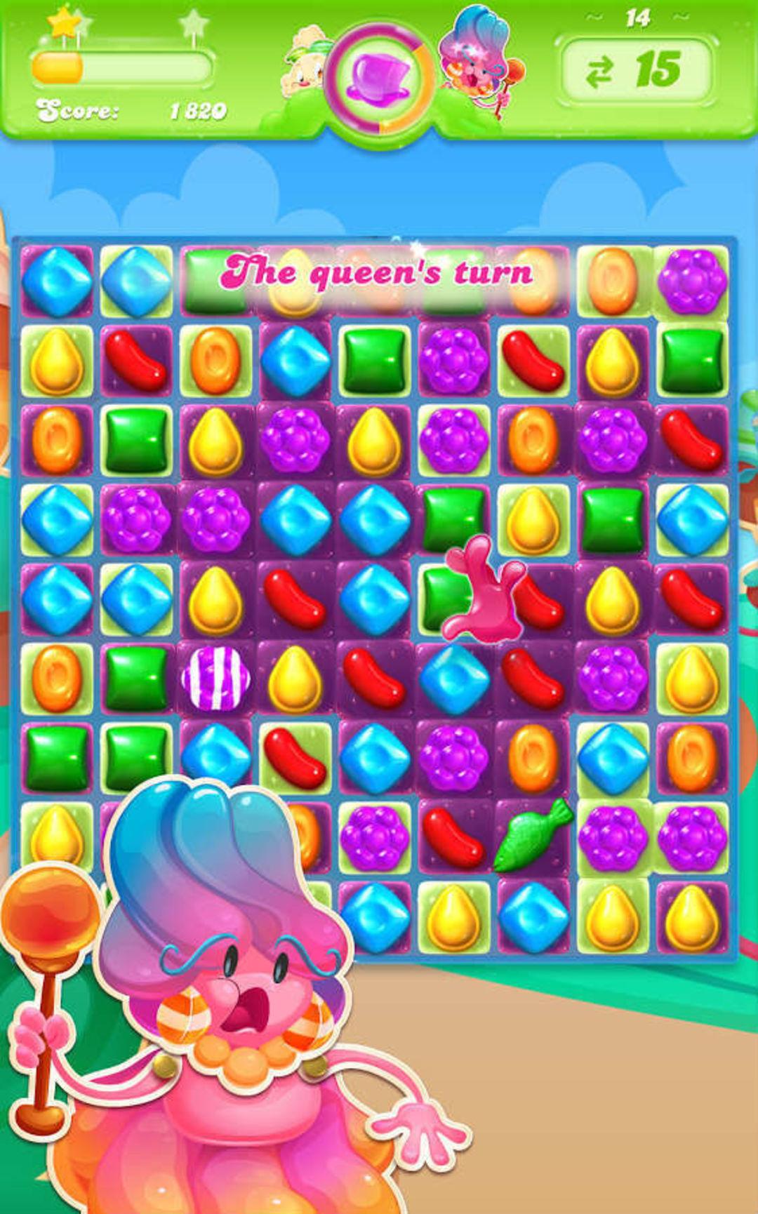 《糖果果冻传奇》中的女王模式。