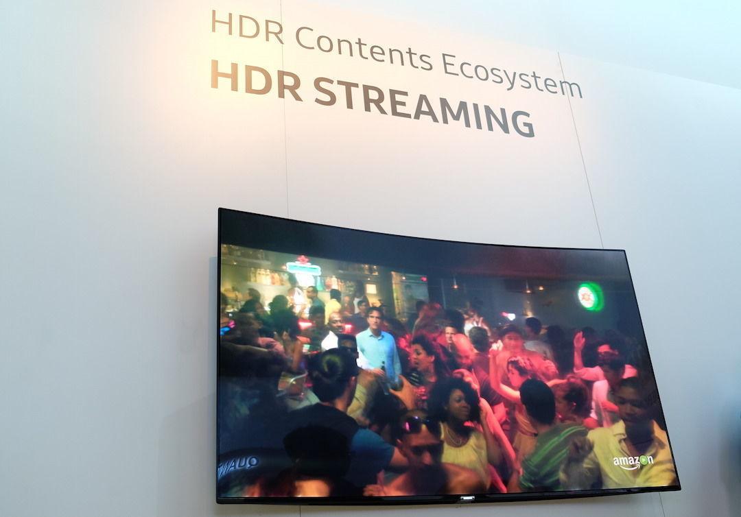 三星展台的支持 HDR 直播的电视