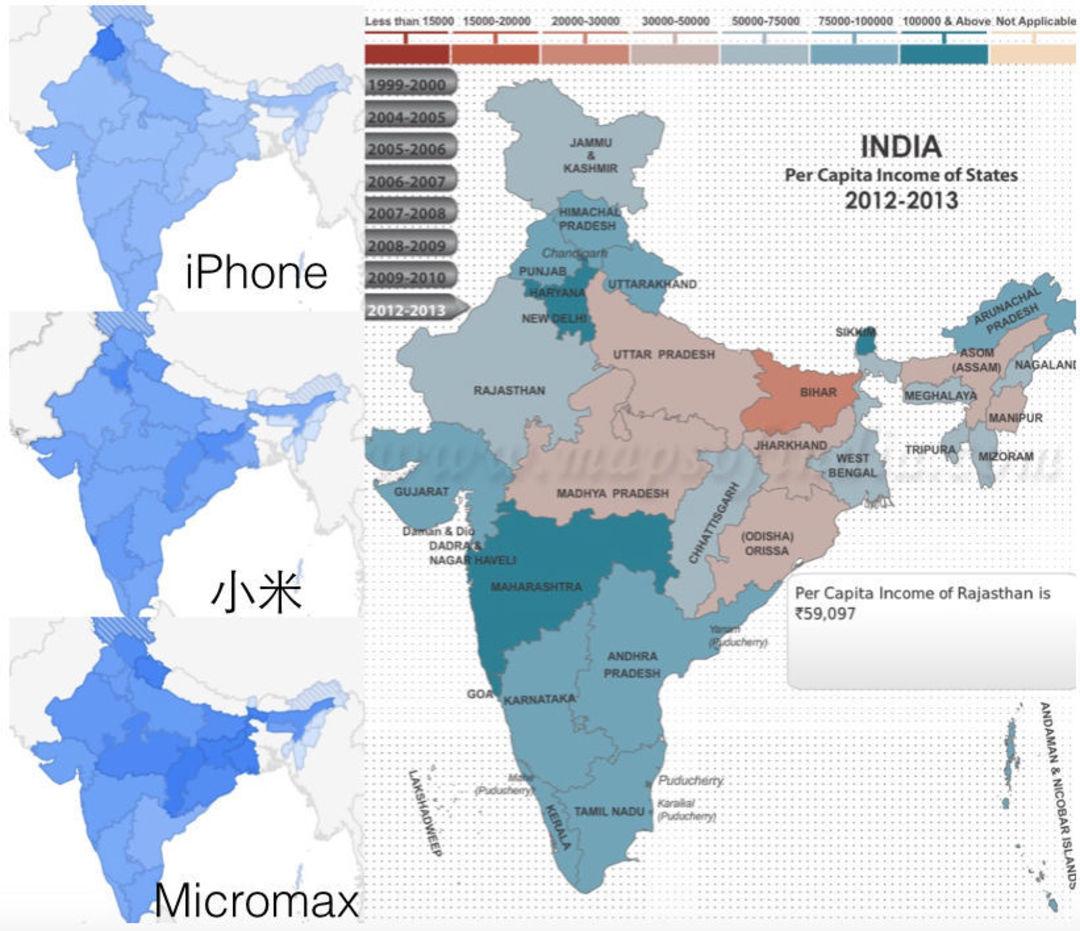 从左至右分别是 iPhone、小米、Micromax 的 Google 趋势区域热度,最右是印度近几年的人均收入地图