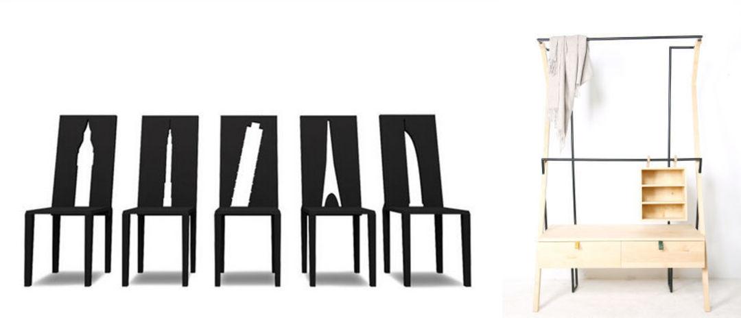 建筑剪影椅子;秋千架