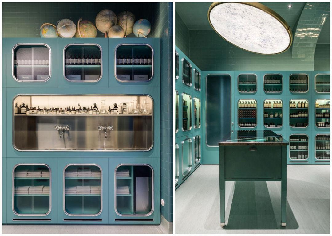 这里用到的家具比较特别,参照了 1930 年代意大利别墅的餐具室;而像洗手池这样的设备,则是每家伊索店铺都会有的