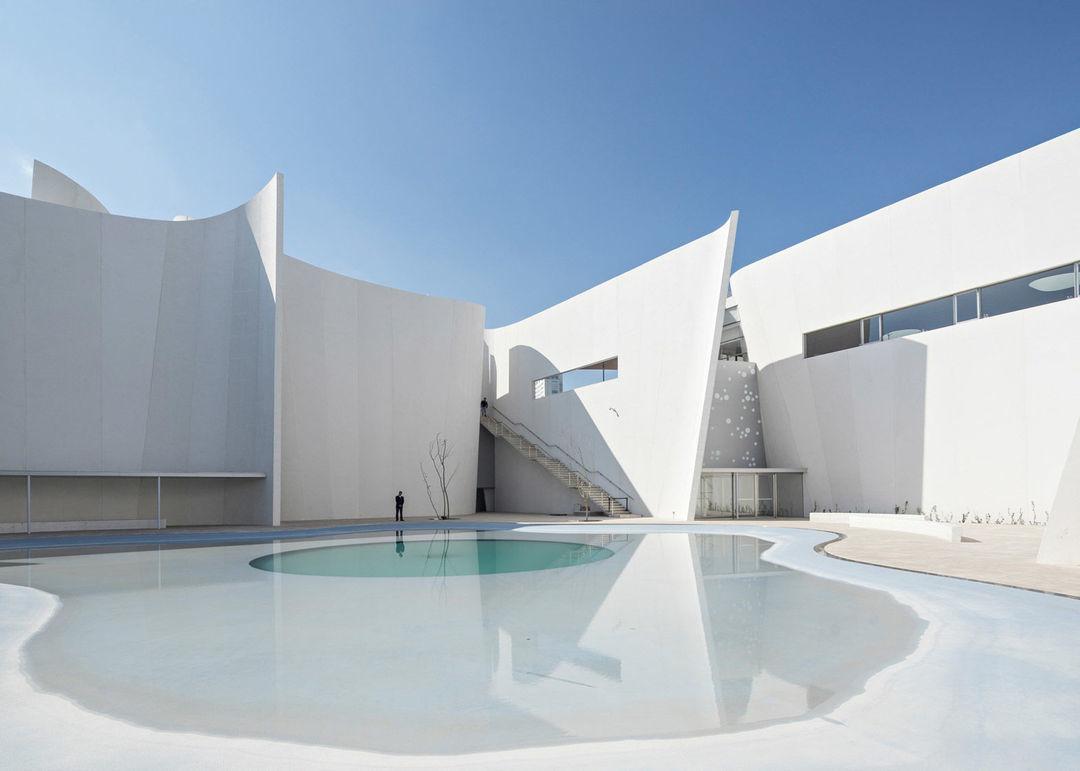 一个月牙状的水池环绕建筑而建,意在创造与整体园区的视觉联系.图片