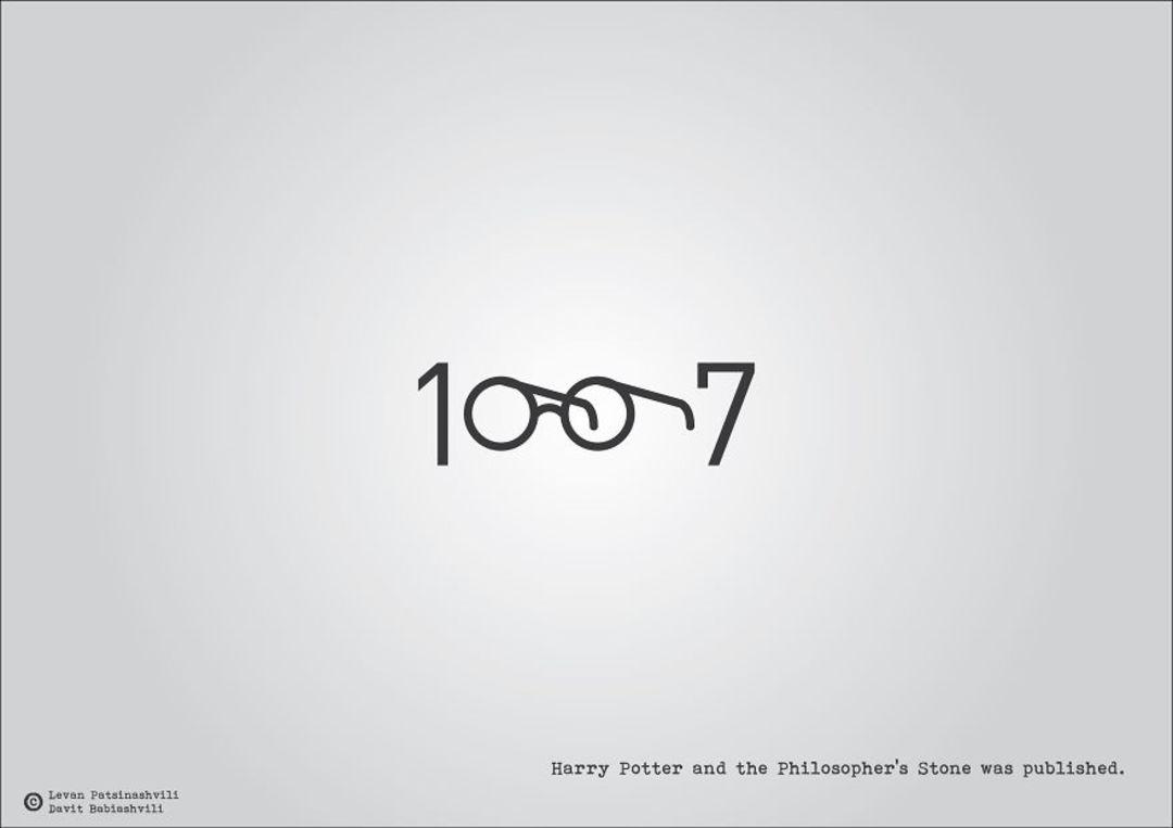 你应该也注意到了,图像的右下角有一行小字,它其实是对这幅图的阐释。它们分别是: 1960甲壳虫乐队诞生。 1912泰坦尼克号沉没。 1996克隆羊多利诞生。 上述的三张图,都是来自格鲁吉亚平面设计师 Levan Patsinashvili 的作品。在艺术博客网站 BoredPanda 上,刊登了这组作品全系列,一共 52 幅。  Levan 看来,数字本身就能记录很多事情,再加上相应的元素符号,就成了一种有趣的表达。他用像这样一组表示年份的数字,形象地回顾了这一年的标志性事件。 他的这组创作还挺