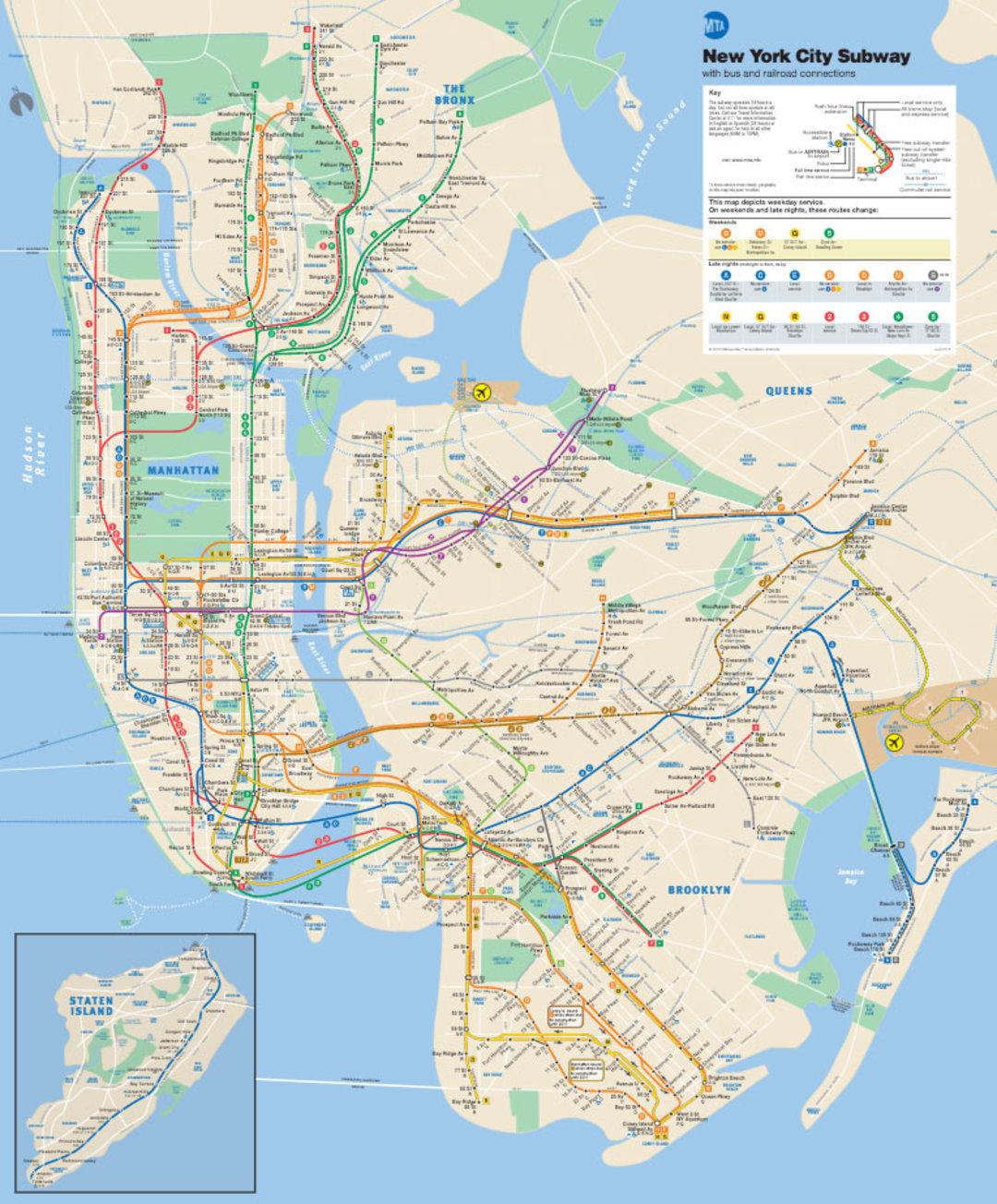 纽约地铁图不像其他城市独立存在,而是覆盖在城市地图上面,加大了 图片