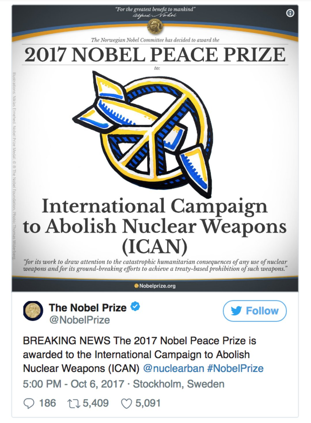 2017诺贝尔和平奖得主,