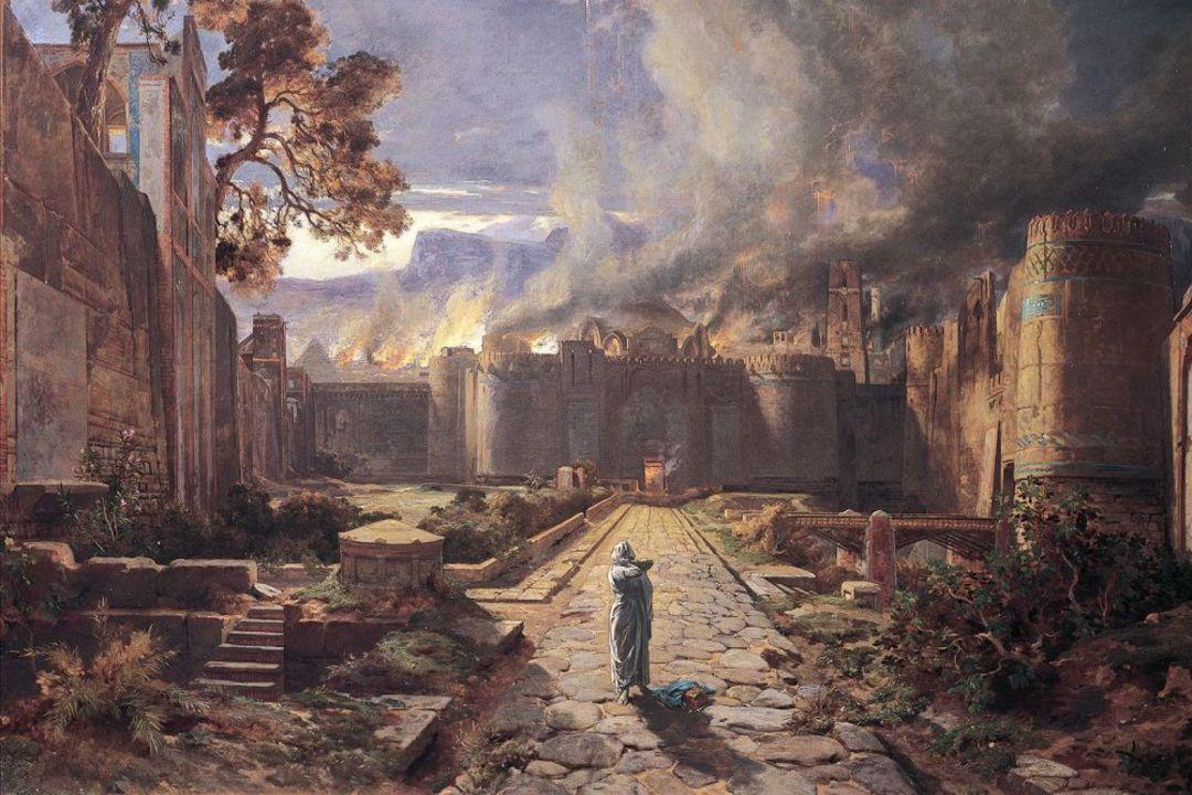世纪法国画家儒勒·劳伦创作的《索多玛与蛾摩拉的毁灭》